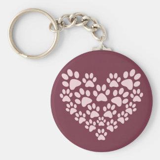 Pawprint Heart Button Keychain