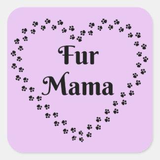 Pawprint Heart Fur Mama Square Sticker