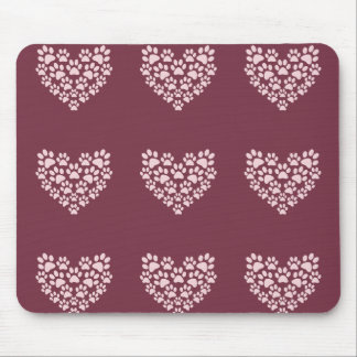 Pawprint Heart Mouse Pad
