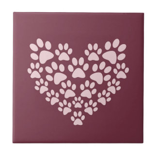 Pawprint Heart Ceramic Tiles