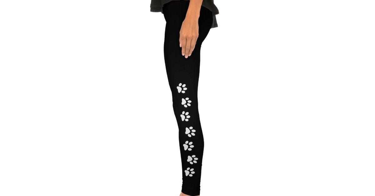 Pawprint Leggings Paw Print Cat Dog Black White Zazzle Com