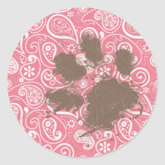 Pawprint lindo encendido se ruboriza Paisley rosad Etiquetas Redondas
