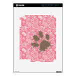 Pawprint lindo encendido se ruboriza Paisley rosad iPad 3 Skin