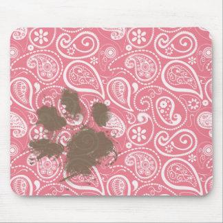 Pawprint lindo encendido se ruboriza Paisley rosad Tapetes De Raton