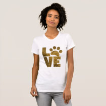 Pawprint Love in Gold T-Shirt