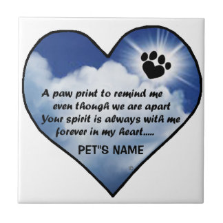 Pawprint Memorial Poem Ceramic Tile