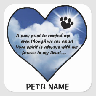 Pawprint Memorial Poem Square Sticker