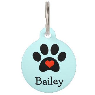 Pawprint negro con personalizado rojo del corazón identificador para mascotas