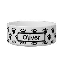 Pawprint Pattern Black White Personalized Pet Bowl