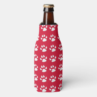 Pawprint Pattern (red & white) Bottle Cooler