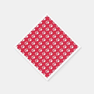 Pawprint Pattern (red & white) Standard Cocktail Napkin
