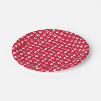 Pawprint Pattern (red & white) Paper Plate
