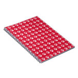 Pawprint Pattern (red & white) Spiral Notebook