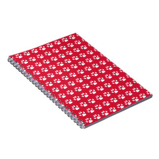 Pawprint Pattern (red & white) Spiral Notebook