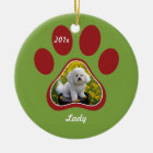 Pawprint Personalized Pet Ornament