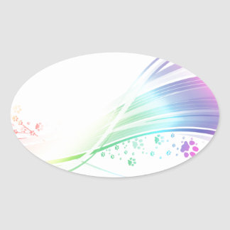 Pawprint Rainbow Oval Sticker