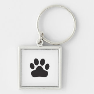 Pawprint Silver-Colored Square Keychain