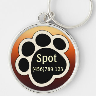 Pawprint Tan & Red Dog ID Tag Keychain