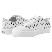 Pawprints - Black and White Low-Top Sneakers