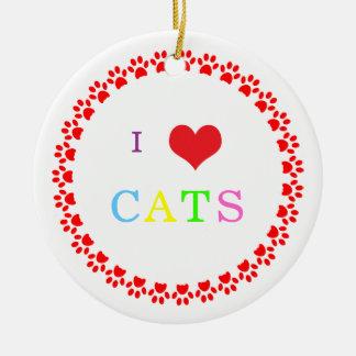Pawprints circle I love heart cats ornament, gift Ceramic Ornament
