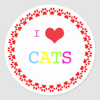 Pawprints circle I love heart cats, stickers, gift Classic Round Sticker