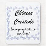 Pawprints con cresta chino alfombrilla de ratón