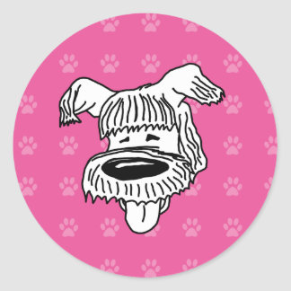 Pawprints de las rosas fuertes del perro pastor pegatina redonda
