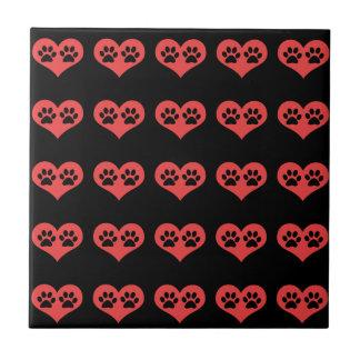 Pawprints en mi corazón azulejo cuadrado pequeño