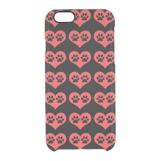 Pawprints en mi corazón funda clearly™ deflector para iPhone 6 de uncommon
