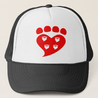 Pawprints Heart Logo T Trucker Hat