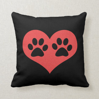 Pawprints In My Heart Throw Pillow