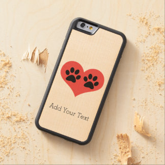 Pawprints In My Heart Carved® Maple iPhone 6 Bumper