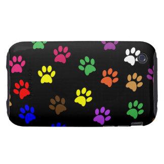 Pawprints lindos coloridos de la diversión del iPhone 3 tough cárcasas
