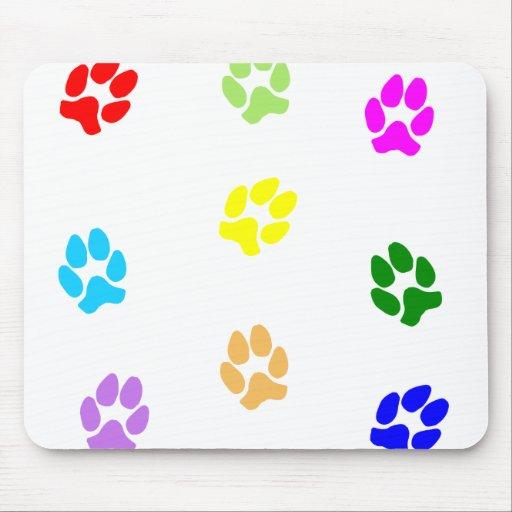 Pawprints multicolor alfombrillas de raton