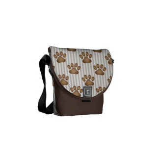 Pawprints on Tan Stripes Courier Bag