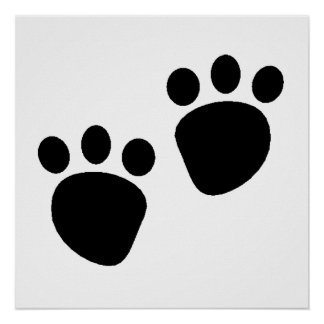 Pawprints Silhouette Poster