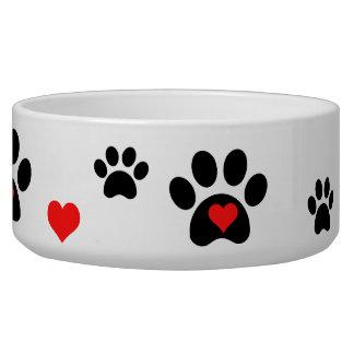 Pawprints y cuenco del perro de los corazones boles para gatos