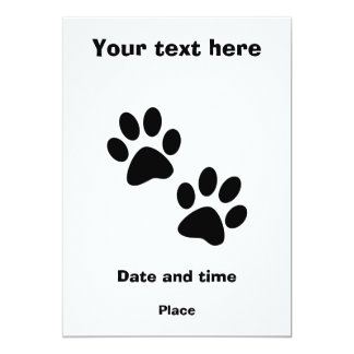 Paws 5x7 Paper Invitation Card
