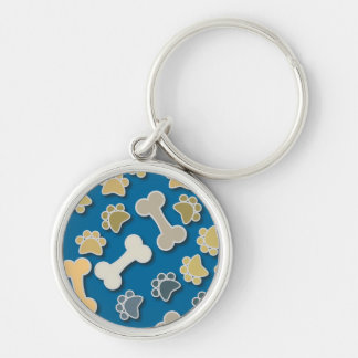 Paws and Bones Blue Keychain
