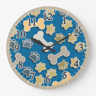 Paws and Bones Blue Large Round Wall Clock