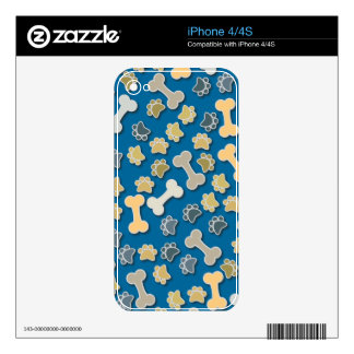 Paws and Bones Blue Skin For The iPhone 4