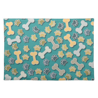 Paws and Bones Green Placemat Cloth Placemat