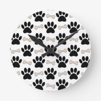 Paws And Bones Pattern Round Clock