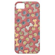 Paws and Bones Peach iPhone 5 Case