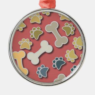 Paws and Bones Peach Premium Round Ornament