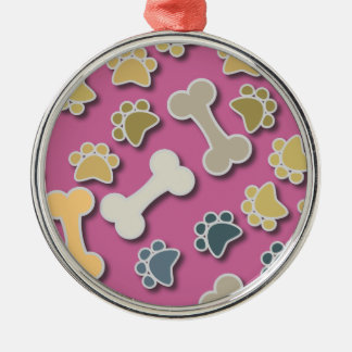 Paws and Bones Pink Premium Round Ornament