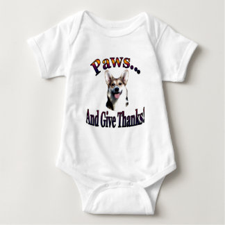 Paws and give thanks  Gimli Baby Bodysuit