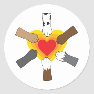 Paws and Heart Classic Round Sticker