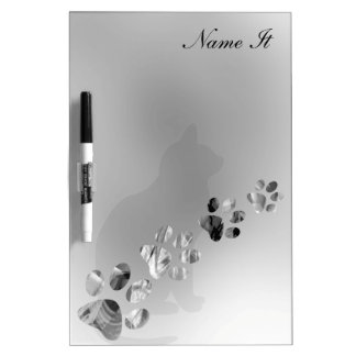 Paws Animal Clean Black and White Dry Erase Board