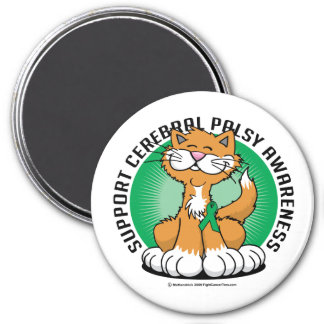 Paws for Cerebral Palsy Cat 3 Inch Round Magnet